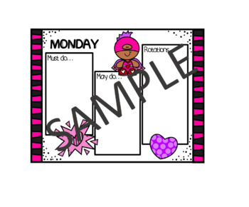>Editable< Daily Must Do,May Do Sheets-Valentine's Superheros(rotations section)