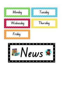 Daily News Organiser Classroom Display - Polka Dot Theme