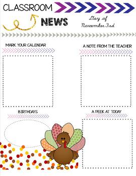 Daily Newsletter Template- November