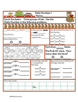 Daily Number--2nd Grade December Theme-- Common Core Aligned