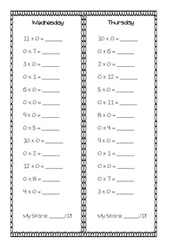 Daily Number Facts - Multiplication