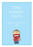 Daily Number Facts - Subtraction from 20