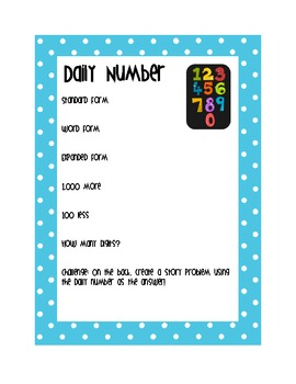 Daily Number Math Center