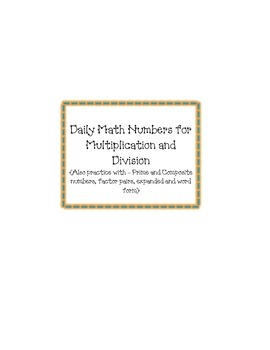Daily Number Practice for Multiplication and Division