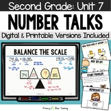 Second Grade Paperless Number Talks - Unit 7 (DIGITAL and Printable)