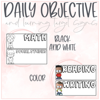 Daily Objective and Learning Target Signs!