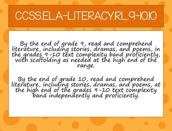 Daily Objectives: CCSS for ELA 9-10 to Print and Display in ORANGE POPSICLE