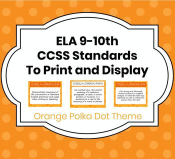 CCSS ELA Common Core Standards to Print-and-Go! - Orange Polka Dot Theme