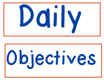 Daily Objectives Pocket Chart Signs