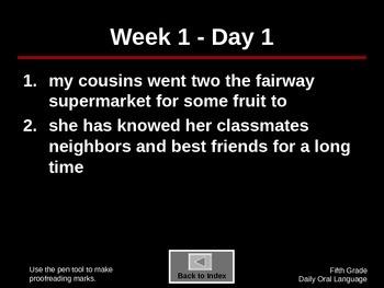 5th Grade Language Arts Daily Review