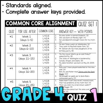 Daily Oral Language (DOL) Quiz Set #1: Aligned to 4th Grade Common Core