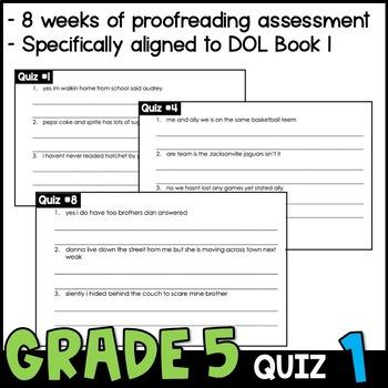 Daily Oral Language (DOL) Quiz Set #1: Aligned to 5th Grade Common Core