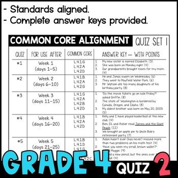 Daily Oral Language (DOL) Quiz Set #2: Aligned to 4th Grade Common Core