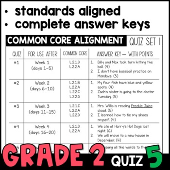 Daily Oral Language (DOL) Quiz Set #5: Aligned to 2nd Grade Common Core