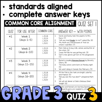 Daily Oral Language (DOL) Quiz Set #3: Aligned to 3rd Grade Common Core