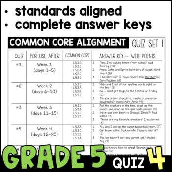 Daily Oral Language (DOL) Quiz Set #4: Aligned to 5th Grade Common Core