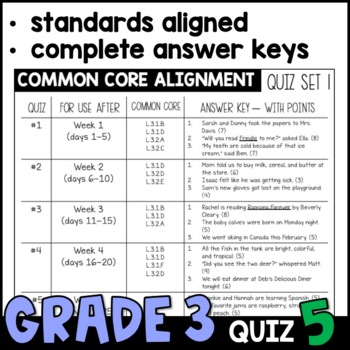 Daily Oral Language (DOL) Quiz Set #5: Aligned to 3rd Grade Common Core