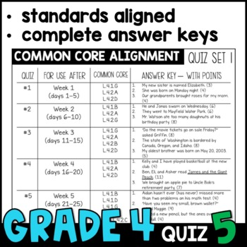 Daily Oral Language (DOL) Quiz Set #5: Aligned to 4th Grade Common Core