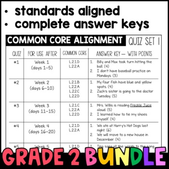 Daily Oral Language (DOL) Quiz Set BUNDLE: Aligned to the 2nd Grade Common Core