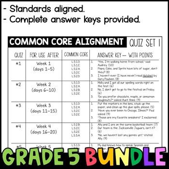 Daily Oral Language (DOL) Quiz Set BUNDLE: Aligned to the 5th Grade Common Core