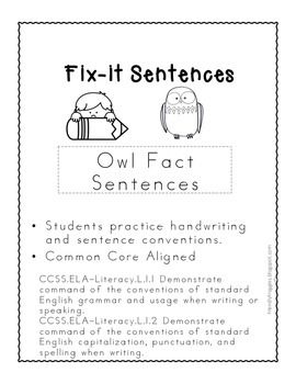 Daily Oral Language -  Fix-it! Non-Fiction Owl Themed
