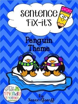 Sentence Practice - Fix it! Write it! Glue it! Draw it! - Penguin Themed