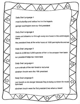 Daily Oral Language Practice Weeks 32-38