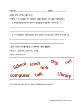 Daily Oral Language Quiz 2 - Freebie!