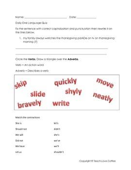 Daily Oral Language Quiz 6 - Freebie!