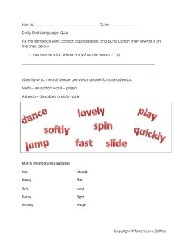 Daily Oral Language Quiz 8 - Freebie!