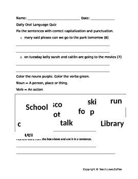 Daily Oral Language Quiz 3 - Freebie