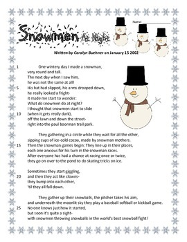 Daily Oral Language (DOL) - Snowmen at Night