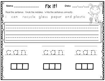 Earth Day - Sentence Practice - Froggy Fix-it