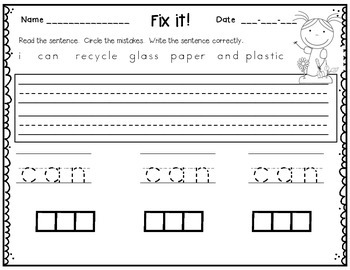 Earth Day - Sentence Practice - Froggy Fix-it