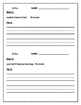 Daily Oral Language Sheets