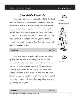 Daily Paragraph Editing, Grade 5, Weeks 1-6 by Evan-Moor ...