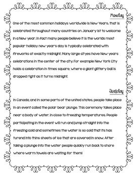 Daily Paragraph Edits - 1 Week - New Years Theme