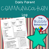 Daily Parent Communication Log- Autism/Developmental Disabilities