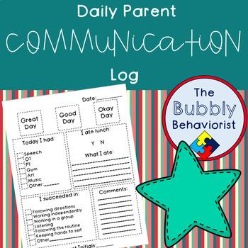 Daily Parent Communication Log- Autism/Developmental Disabilities