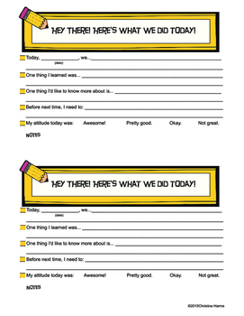 Daily Parent Communication Printable for Intervention or Remedial Sessions