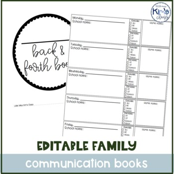 Daily Parent-Teacher Special Ed Communication Journal / Back & Forth Book