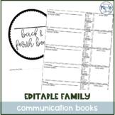 Daily Parent-Teacher Special Ed Communication Journal / Ba