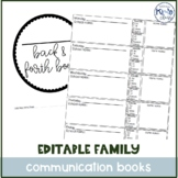 Daily Parent-Teacher Special Ed Communication Journal / Ba