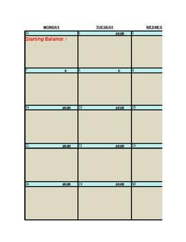 Daily Personal Budget Calendar 2013
