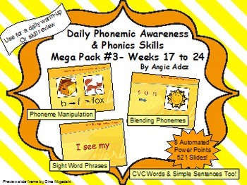 Daily Phonemic Awareness and Phonics Skills Mega Pack #3 (Weeks 17 - 24)