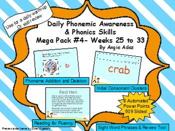 Daily Phonemic Awareness and Phonics Skills Mega Pack #4 (Weeks 25 - 33)