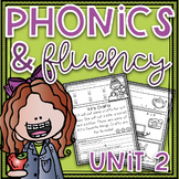 Phonics & Fluency Unit 2~Phonics Worksheets & Fluency Passages Distance Learning