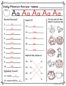Daily Phonics Review (Correlated to Reading Street for 1st Grade Unit 1)