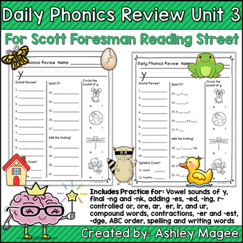 Daily Phonics Review Correlated To Reading Street For 1st Grade Unit 3