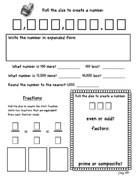 Daily Place Value and Fraction Practice